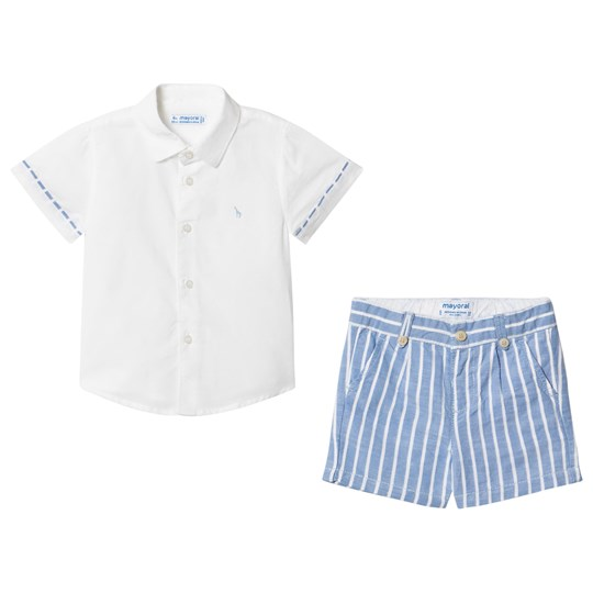Mayoral White Linen Shirt and Blue Shorts Set 90