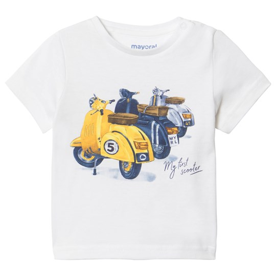 Mayoral Scooter Print Tee White 10
