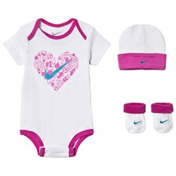 NIKE White and Pink Baby Body, Hat and Booties Set
