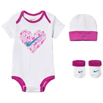 NIKE White and Pink Baby Body, Hat and Booties Set 001