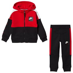 NIKE Red and Black Colourblock Air Hoodie and Sweatpants Set