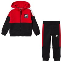NIKE Red and Black Colourblock Air Hoodie and Sweatpants Set U10