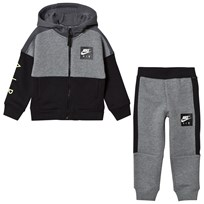 NIKE Grey and Black Colourblock Air Hoodie and Sweatpants Set GEH