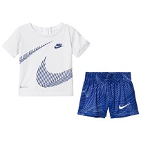 NIKE White and Blue Wrap Around Swoosh Tee and Shorts Set 001