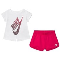 NIKE White and Pink Gradient Futura Tee and Pink French Terry Shorts Set A4Y