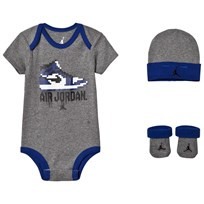 Air Jordan Grey and Blue Baby Body, Hat and Booties Set GEH (CARBON HEATHER)