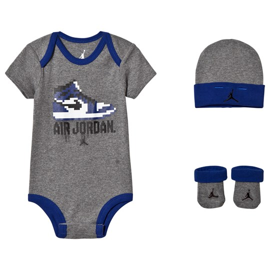 Air Jordan Grey and Blue Baby Body, Hat and Booties Set GEH (CARBON HEATHER