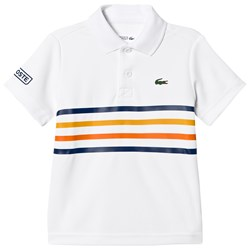 Lacoste White and Stripe Ultra Dry Tennis Ribbed Collar Shirt