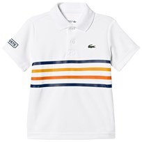 Lacoste White and Stripe Ultra Dry Tennis Ribbed Collar Shirt PY3
