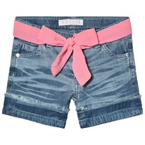Guess Blue Denim Shorts with Pink Ribbon Tie LGTB