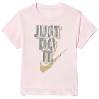 NIKE Pale Pink Just Do It Metallic Tee A31
