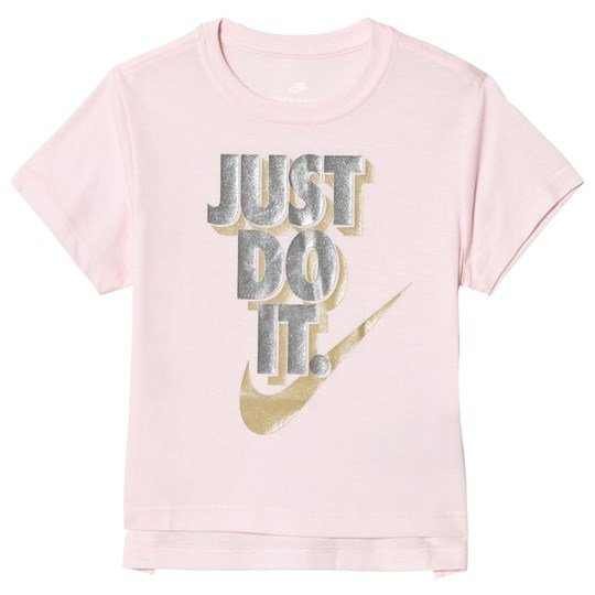 b03072db NIKE - Pale Pink Just Do It Metallic Tee - Babyshop.com