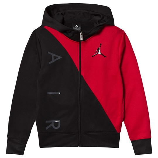 Air Jordan Black and Red Full Zip Hoodie 023 (BLACK)