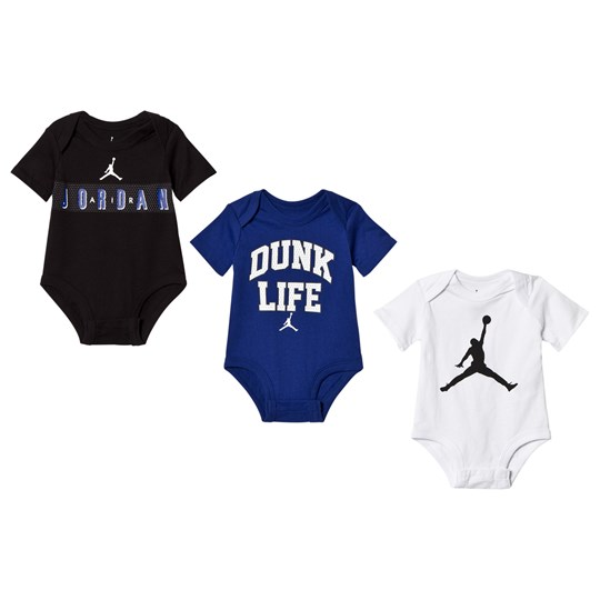 Air Jordan Black, White and Deep Royal Blue 3-Pack Baby Body 023 (BLACK)