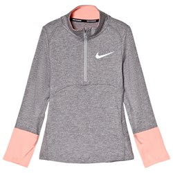 NIKE Grey and Pink Nike Dry Element Running Top