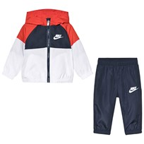 NIKE Red and Blue Colorblock Futura Hooded Windbreaker and Bottoms Set U2Y