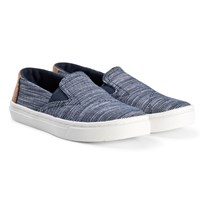 Toms Navy Striped Chambray Luca Youth TOMS Slip-Ons Marinblå