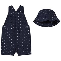 Ralph Lauren Navy Star Overalls and Hat Set 001