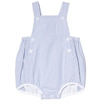 Petit Bateau Blue and White Seersucker Romper
