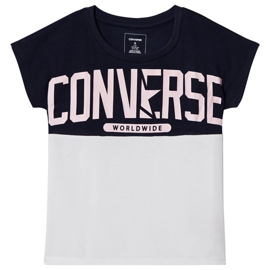 Converse White and Pink Worldwide Logo Tee White