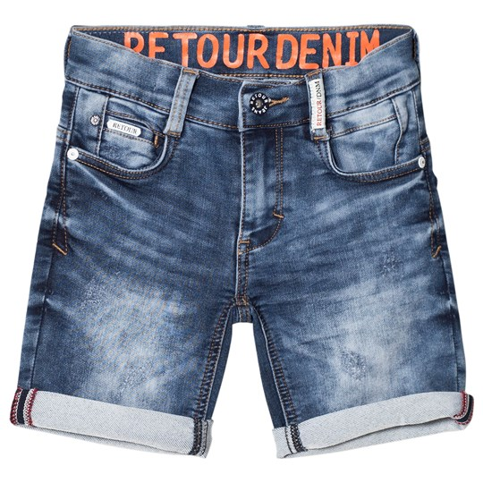 Retour Loeak Denim Shorts Vintage Blue Medium Blue Denim