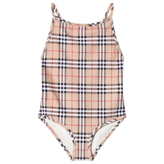 Burberry Vintage Check One-Piece Swimsuit Camel Camel
