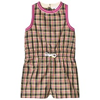 Burberry Striped Trim Check Mini Playsuit Bright Coral Pink BRIGHT CORAL PINK
