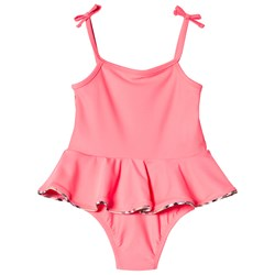 Burberry Peplum Check One-Piece Swimsuit Bright Coral