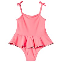 Burberry Peplum Check One-Piece Swimsuit Bright Coral Bright Coral