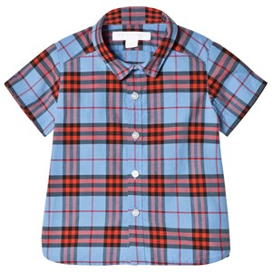 Image of Burberry Cornflower Blue Mini Short Sleeve Check Shirt 6 months (3017742569)