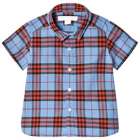 Burberry Cornflower Blue Mini Short Sleeve Check Shirt Cornflower Blue