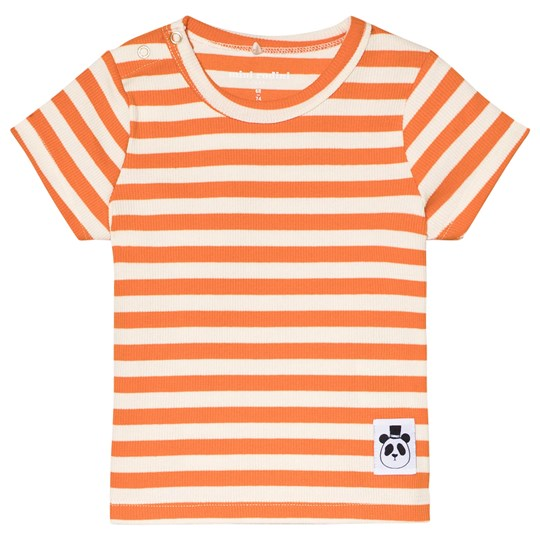 Mini Rodini Stripe Rib Tee Orange Orange