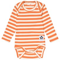 Mini Rodini Stripe Rib Baby Body Orange Orange