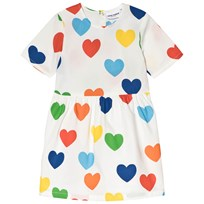 Mini Rodini Rainbow Love Woven Dress White White