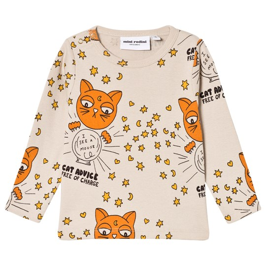 Mini Rodini Cat Advice Long Sleeve Tee Beige Beige