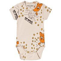 Mini Rodini Cat Advice Baby Body Beige Beige