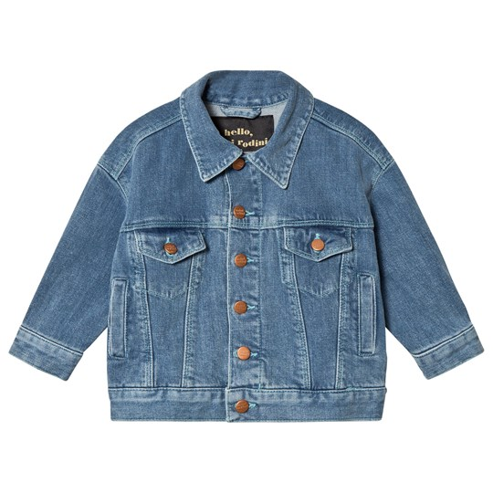 Mini Rodini Space Cat Denim Jacket Blue Blue