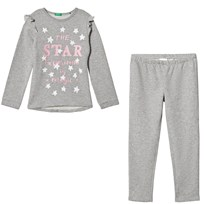 United Colors of Benetton Grey Melange Sweater and Trousers Set Grey Melange