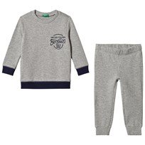 United Colors of Benetton Sweater and Trousers Set Grey Melange Grey Melange