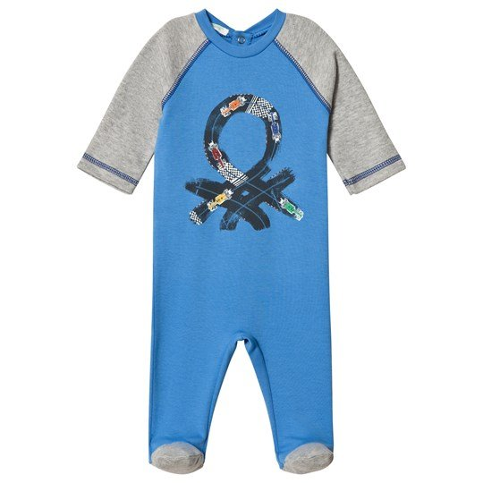 United Colors of Benetton Branded Footed Baby Body Blue Blue
