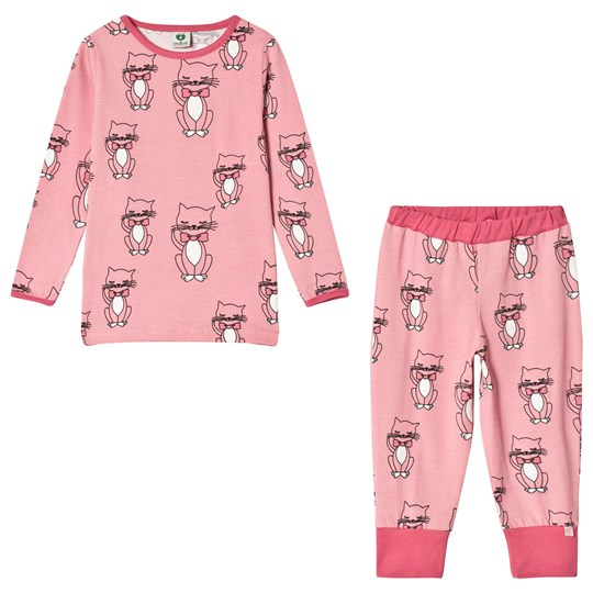 Småfolk Pink Cats Print Pyjama Set 502