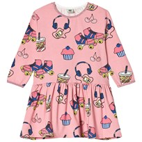 Småfolk Pink Roller Skates Print Dress 502