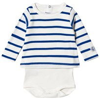 Petit Bateau White and Blue Striped Baby Body