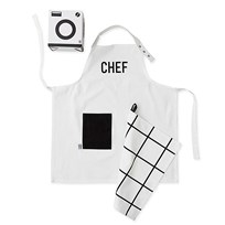 Design Letters Kids Apron & Tea Towel Set White