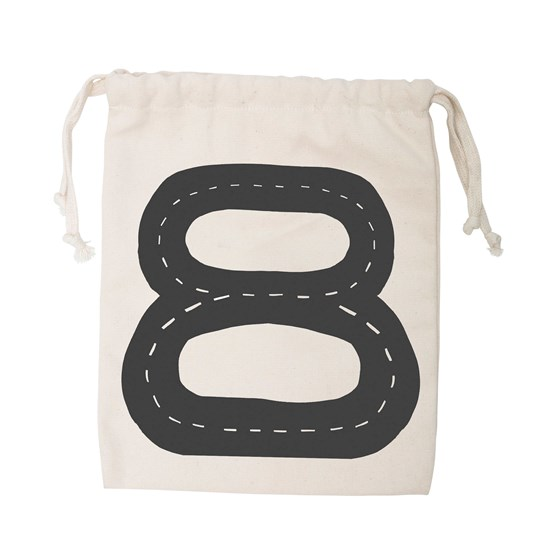 Tellkiddo Car Track Small Fabric Bag Off Whie / Natural
