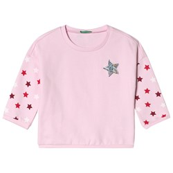 United Colors of Benetton Star Print Tröja Candy Pink