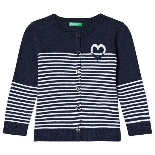 United Colors of Benetton Stripe Cardigan Navy Navy
