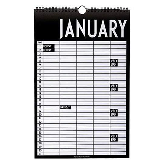 Design Letters Monthly Planner Black