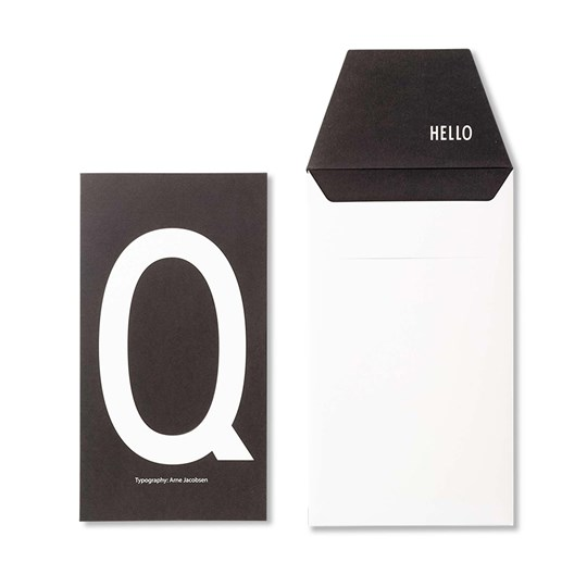 Design Letters Personal Greeting Card - Q White
