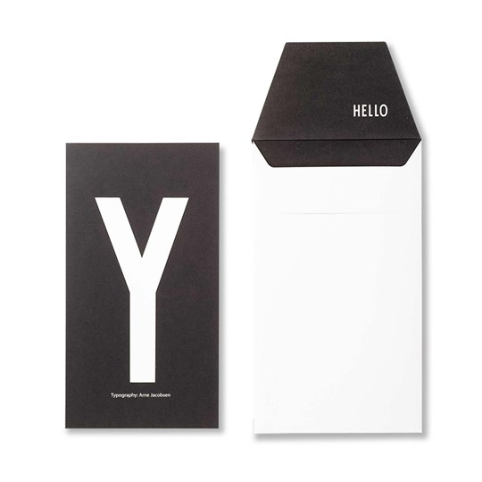 Design Letters Personal Greeting Card - Y Hvit
